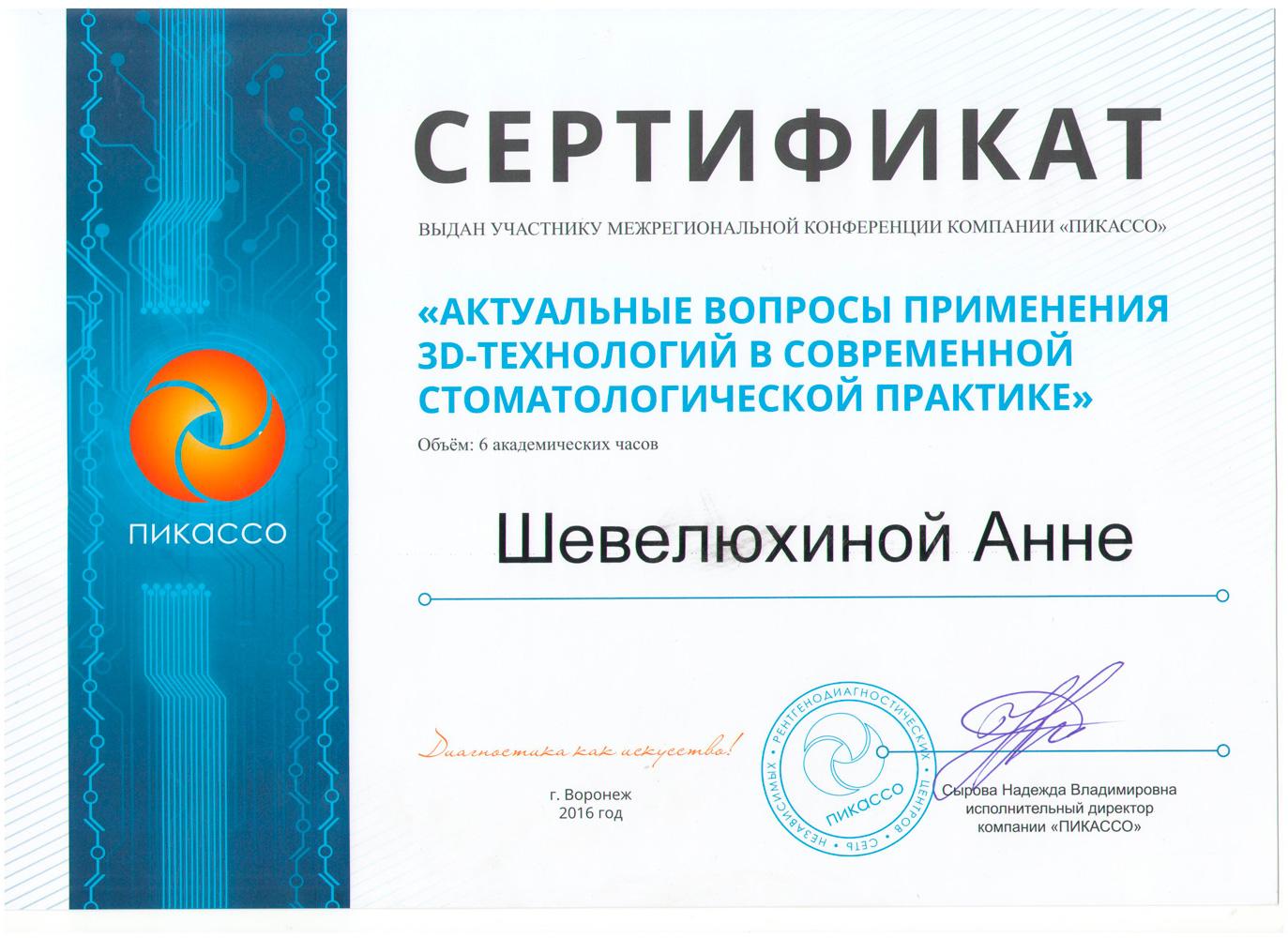 Шевелюхина (Жемерикина) Анна Юрьевна - сертификат №7