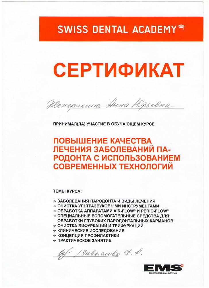 Шевелюхина (Жемерикина) Анна Юрьевна - сертификат №3